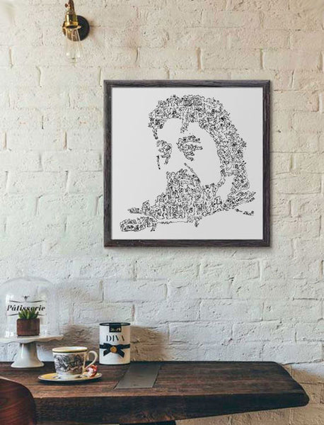 Serge Gainsbourg poster of the french singer with doodles