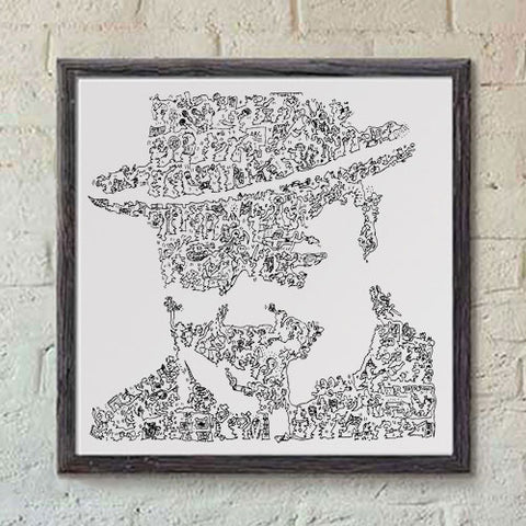 Winston Churchill art print with doodles