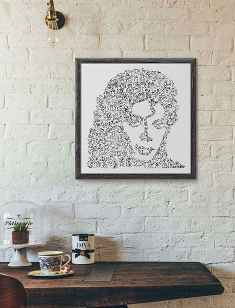 Michael jackson hand made ink drawing scribble