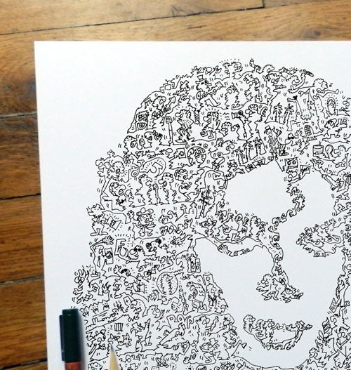 Michael jackson portrait from a hand drawing with details