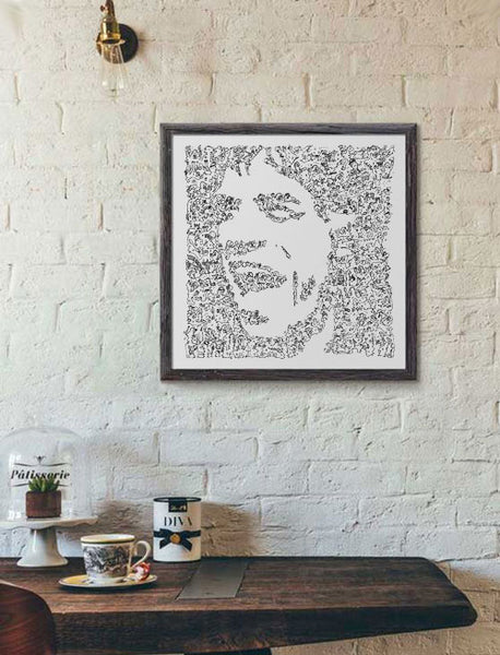 Mick Jagger ink drawing caricature with doodles - Rolling stones