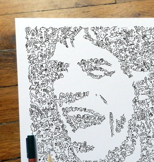 sir Mick Jagger portrait with biography doodles