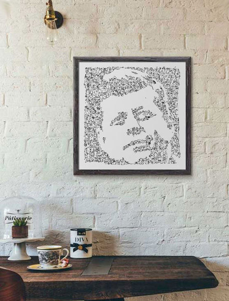 John Fitzgerald Kennedy poster made of doodles