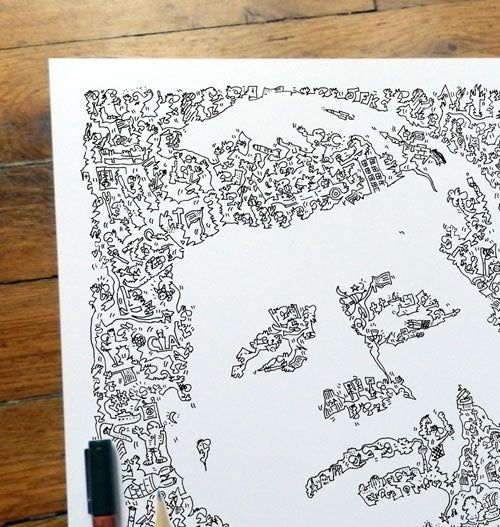 biographical portrait of JFK John Fitzgerald Kennedy by drawinside