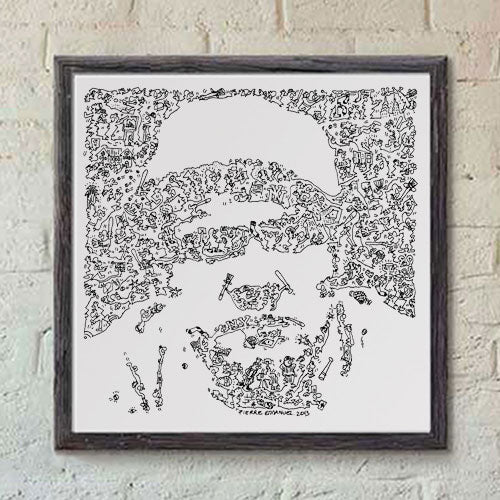 babe ruth print of the bambino, doodle artwork