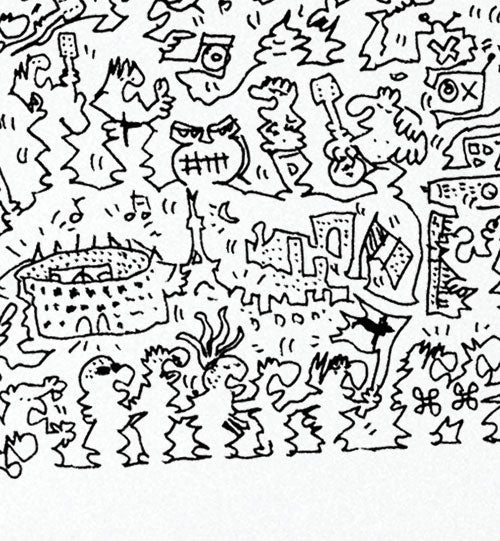 doodle detail of indochine french band