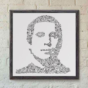 Simon and Garfunkel portrait with doodles handmade