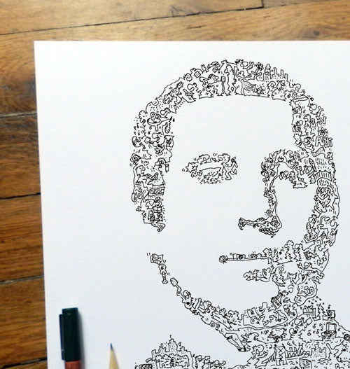 paul simon portrait draw with plenty of biographical doodles