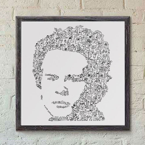 Art Garfunkel ink drawing with details inside