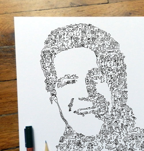 Glen Frey ink drawing with doodles