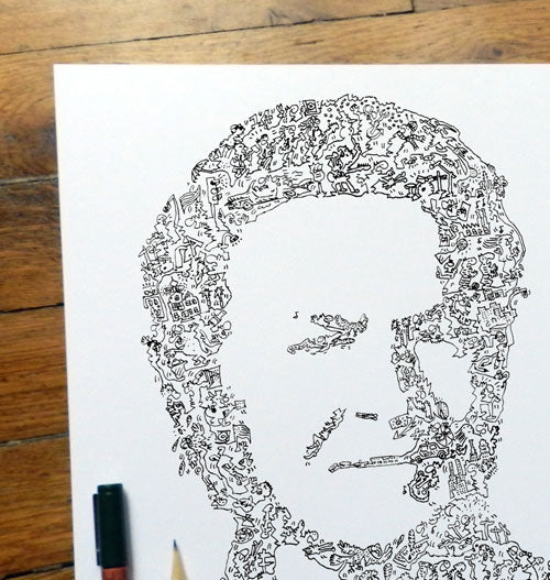 Don Henley ink portrait with doodles drawing inside