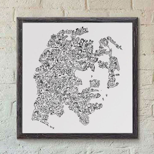 John Rambo print with doodles by drawinside