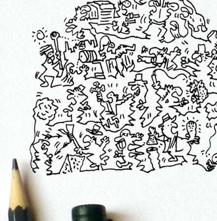 Indiana Jones chased by a rolling stone doodles detail