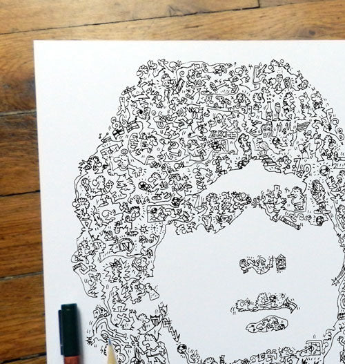 Diego Maradona doodles artwork by drawinside