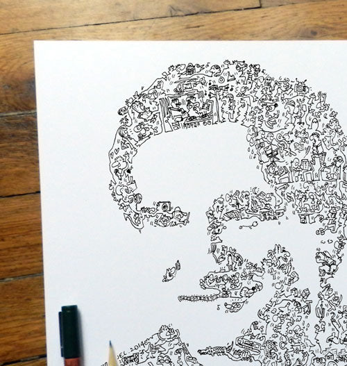 Robin Williams poster made of doodles