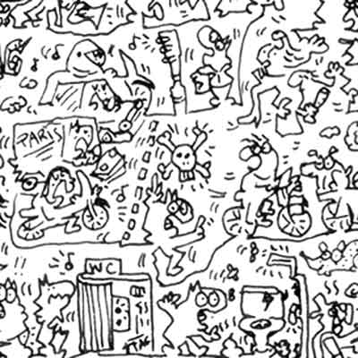 mean and rude people in paris doodle drawing detail
