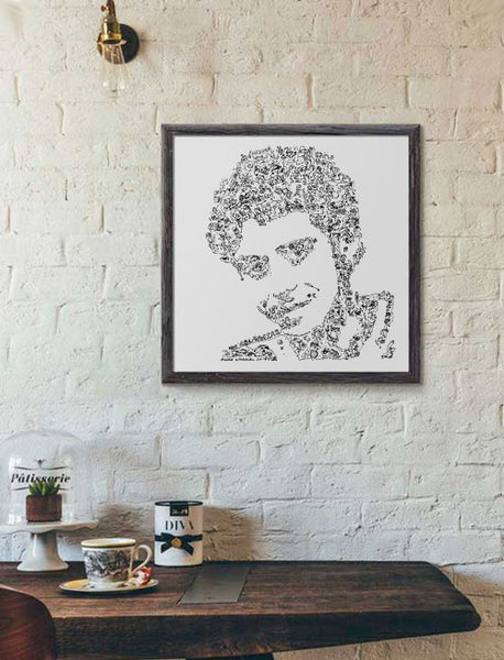 Valentino Rossi black and white fun art poster