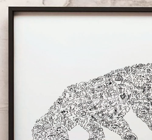 beagle doodle art print detail by drawinside