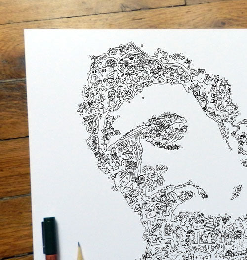 James Dean art print with biography detail inside drawing