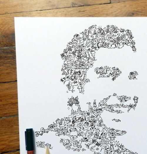 motogp 93 Marc Marquez ink drawing with biography details