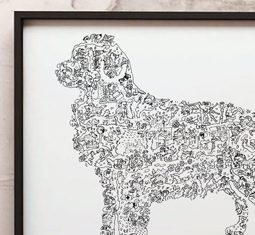 Golden Retriever doodle artwork detail by drawinside