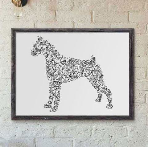 boxer poster of the breed hard to find gift