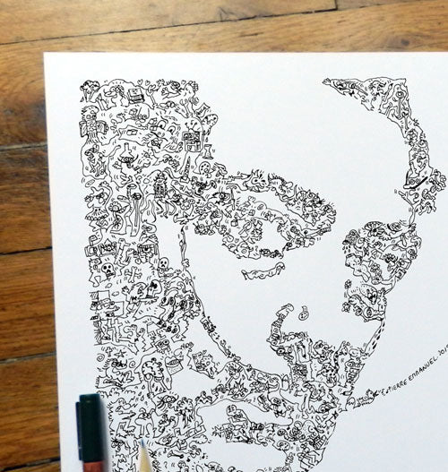 Salvador Dali doodle art portrait by drawinside