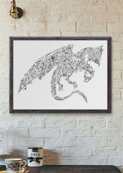 Dragon doodle art drawing poster