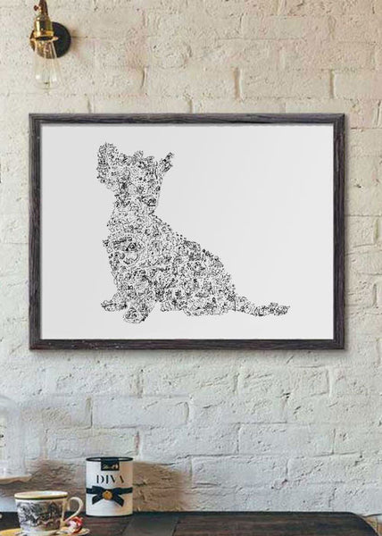 West Highland Terrier breed drawing poster