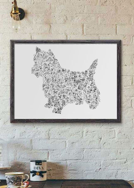 Yorkshire dog in black and white silouhette poster