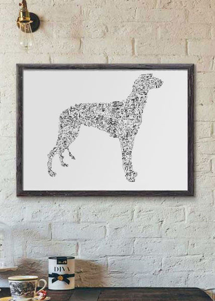 Greyhound dog breed gift black and white poster