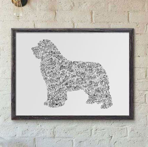 Newfoundland  dog breed print