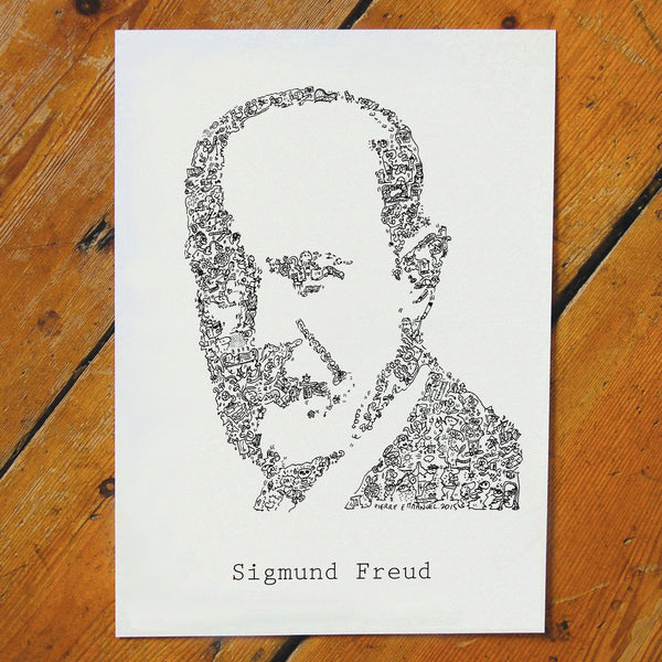 ink drawing of sigmund freud the psy with biography