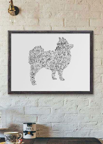 Pomeranian black and white silouhette poster