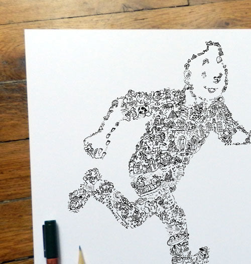 tintin ink drawing in black in white