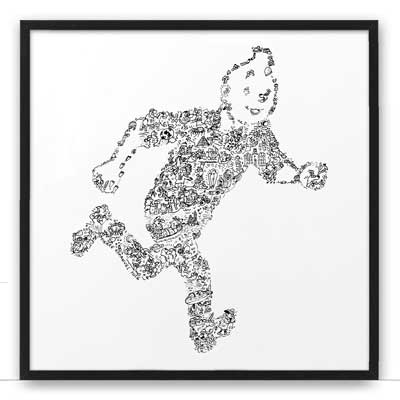 tintin art print black white drawing