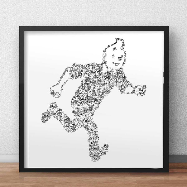tintin original handmade drawing print edition