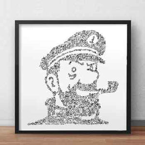 Captain Haddock ink drawing print inside doodles