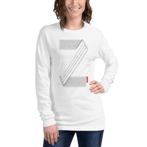GOSPEL Unisex Long-Sleeve T-Shirt - Good News in Letter Z - White Collection - GOSPELetters