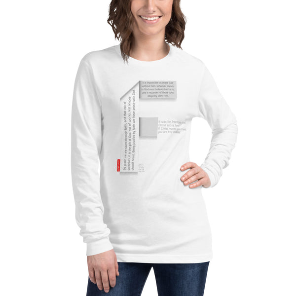 GOSPEL Unisex Long-Sleeve T-Shirt - Good News in Letter F - White Collection - GOSPELetters