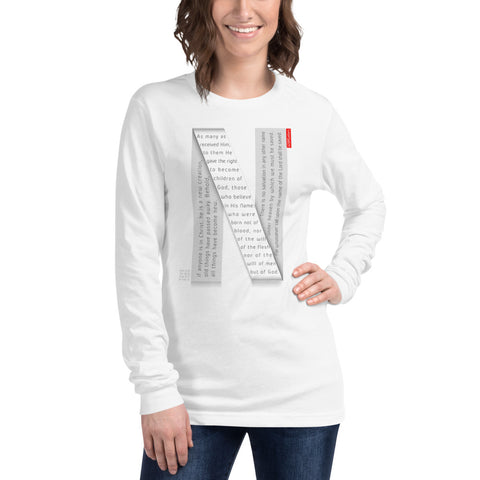 GOSPEL Unisex Long-Sleeve T-Shirt - Good News in Letter N - White Collection - GOSPELetters