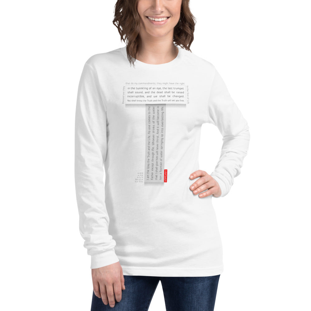 GOSPEL Unisex Long-Sleeve T-Shirt - Good News in Letter T - White Collection - GOSPELetters