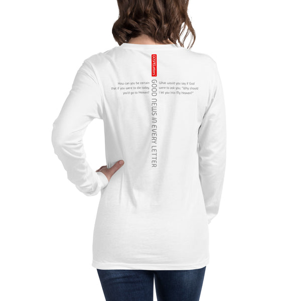 GOSPEL Unisex Long-Sleeve T-Shirt - Good News in Letter X - White Collection - GOSPELetters