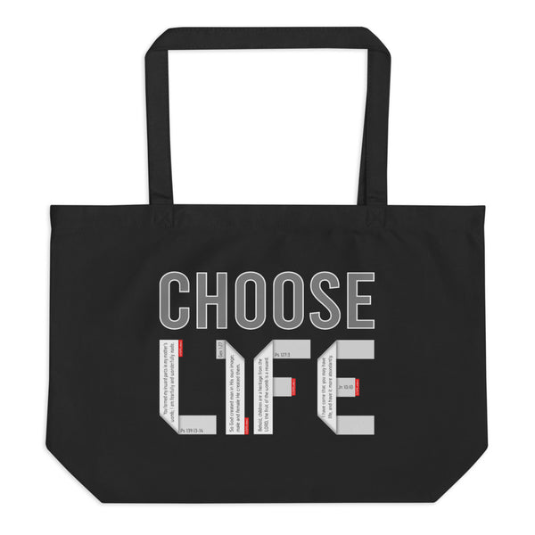 CHOOSE LIFE Large Organic Tote Bag - GOSPELetters