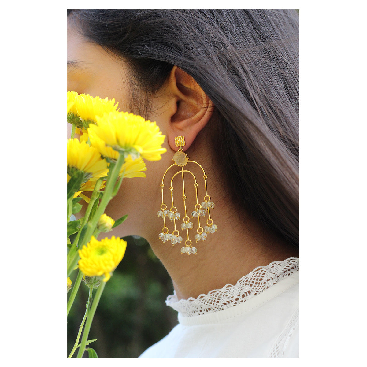 Citrine Waterfall Statement Earring