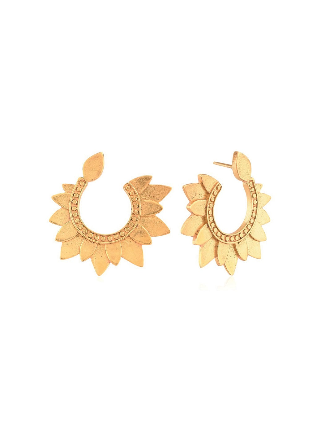 Lotus Crescent Half Moon Earring