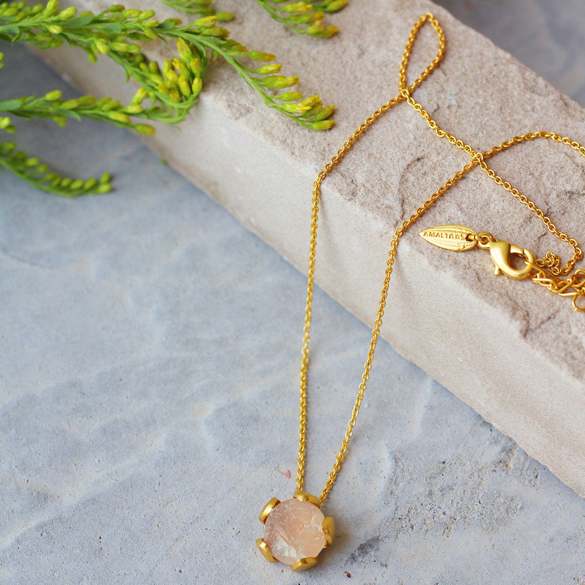 Rose Quartz Petal Necklace