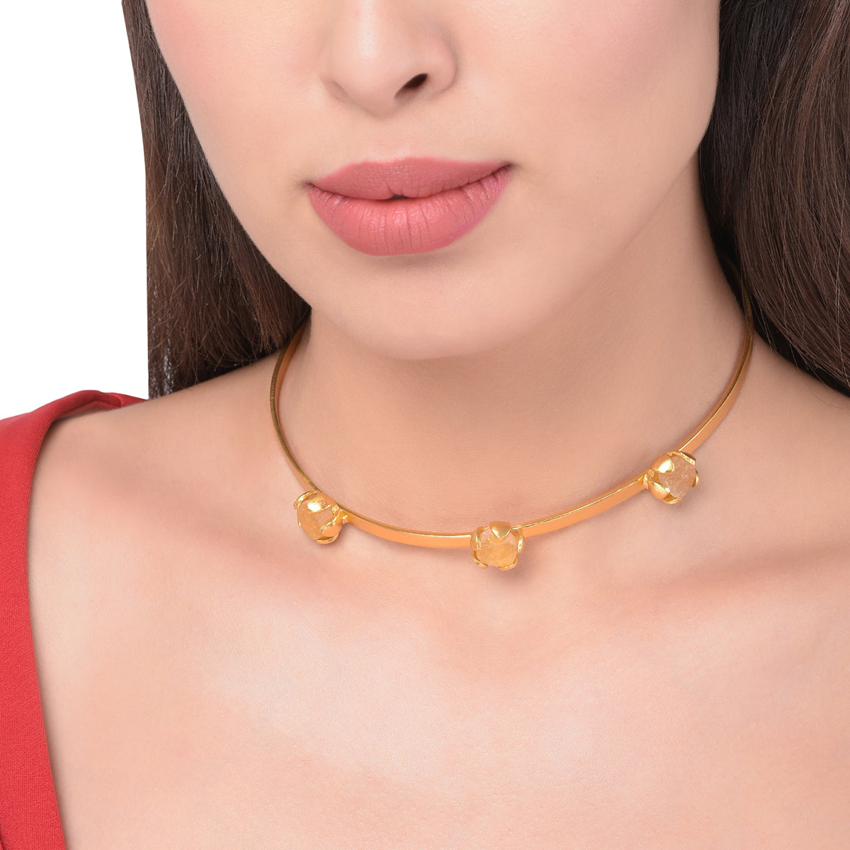 Triple Citrine Choker