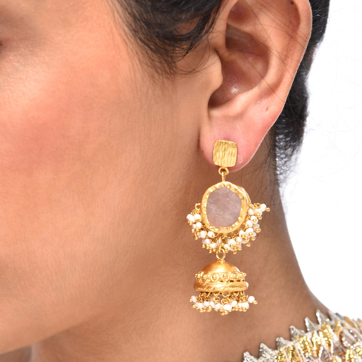 Indian Jhumki RoseQuartz