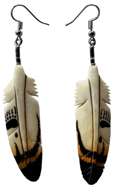 Bone Earrings - Bear